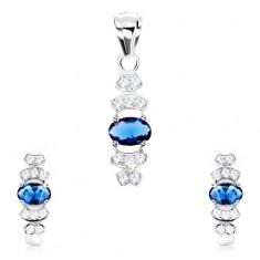 222c9c913 Šperky eshop - Sada zo striebra 925, náušnice, prívesok, modrý zirkón -  ovál, číre oblúky SP76.22