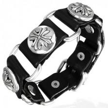 Čierny kožený náramok fleur de lis cross