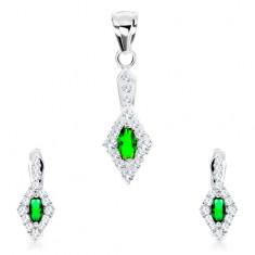 bbf24af07 Šperky eshop - Sada zo striebra 925, prívesok a náušnice, zelený ovál,  kosoštvorcový číry lem SP81.13