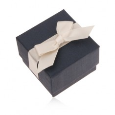 Šperky eshop - Modrá darčeková krabička na prsteň, prívesok a náušnice, krémová mašľa U23.6