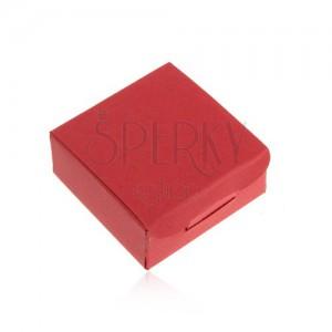Darčeková krabička na prsteň a náušnice, červená farba, šikmé ryhy