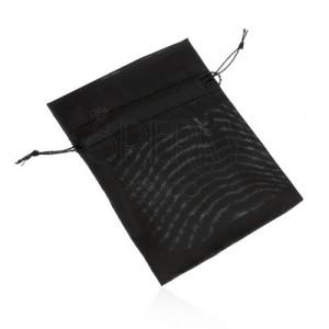 Organzové vrecúško na darček, čierna farba, hladký lesklý povrch