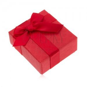 Darčeková krabička na prsteň, červená farba, mašlička, ozdobný vzor