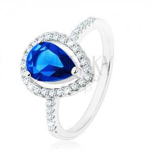 Prsteň, striebro 925, úzke ramená, zirkónová slza modrej farby