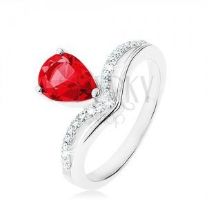 Strieborný prsteň 925, obrátená slza - ružový zirkón, zašpicatená línia