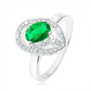 Prsteň zo striebra 925, oválny zelený zirkón, asymetrická kvapka - obrys