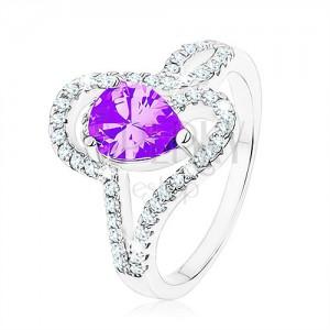 Strieborný prsteň 925, zirkón tanzanitovej farby - slza, prepletené línie