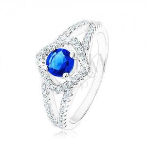 Strieborný prsteň 925, rozdvojené ramená, obrys štvorca, modrý zirkón