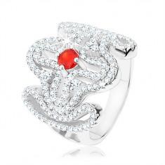 Šperky eshop - Masívny prsteň, striebro 925, červený zirkónik, rozsiahly ornament - kríž HH7.18 - Veľkosť: 49 mm