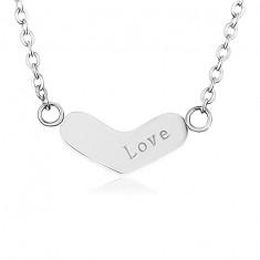 Šperky eshop - Nastaviteľná retiazka z ocele 316L, ploché široké srdce, nápis SP84.22