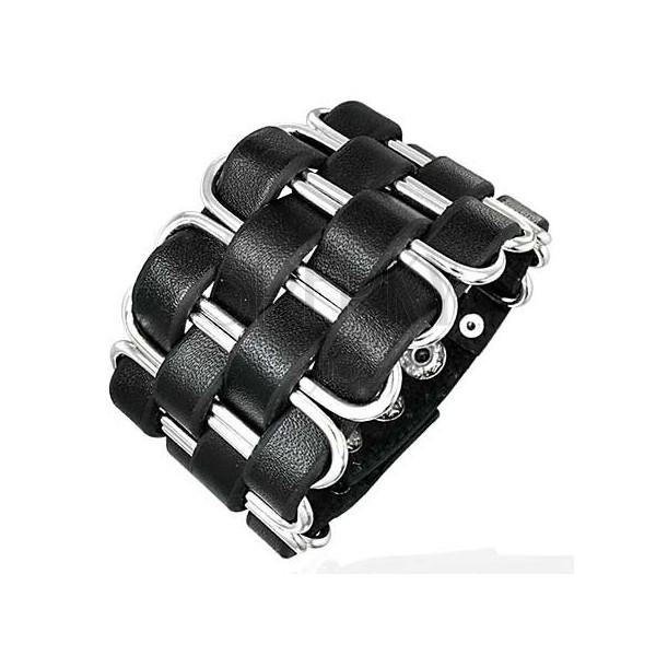 Čierny kožený náramok pletenec z tenkých pásov