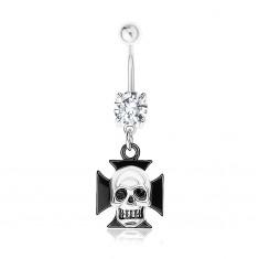 Šperky eshop - Oceľový 316L piercing do pupka, číry zirkón, maltézsky kríž, lebka SP83.12