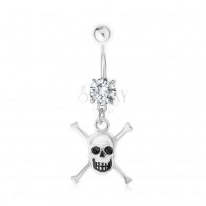 Piercing do pupku z ocele 316L, lebka, skrížené kosti, číry zirkón