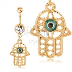 Oceľový piercing 316L do pupku, zlatá farba, prívesok - ruka Fatimy