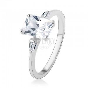 Zásnubný prsteň, striebro 925, veľký zirkónový obdĺžnik, malé lichobežníky