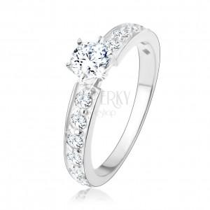 Trblietavý zásnubný prsteň, striebro 925, číre zirkónové línie, okrúhly zirkón