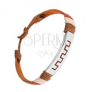 Nastaviteľný kožený náramok, škoricovohnedá farba, známka z ocele, grécky motív