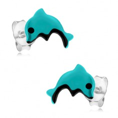 Šperky eshop - Strieborné náušnice 925, svetlomodrý delfínik s čiernym očkom a bruškom I23.3