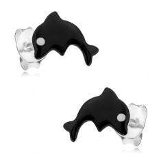 Šperky eshop - Strieborné 925 náušnice, malý delfín pokrytý čiernou glazúrou, biele očko I22.18