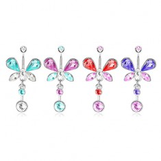Oceľový piercing do pupka, strieborná farba, zirkónový motýľ