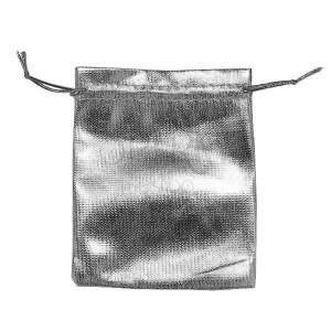 Darčekové vrecúško z látky, strieborná farba, lesk, šnúrky