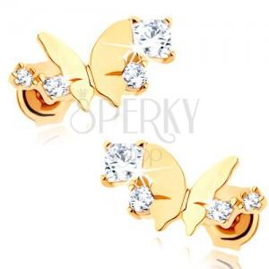 Zlaté náušnice 375 - lesklý malý motýľ, oblúk z čírych trblietavých zirkónov
