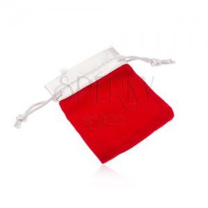 Červené zamatové vrecúško na darček, vrchná časť v striebornom odtieni
