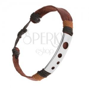 Hnedý kožený náramok, previazané šnúrky, oceľová známka - okrúhle výrezy