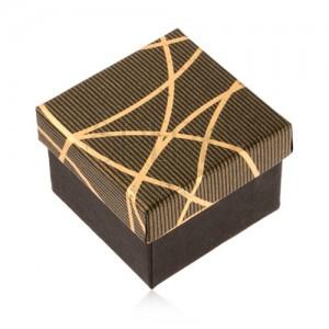 Darčeková krabička na prsteň a náušnice, čierno-zlatá farba, lesklé pásiky