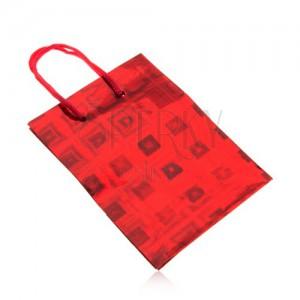 Taštička na darček, červená farba, farebné odlesky, hladký povrch