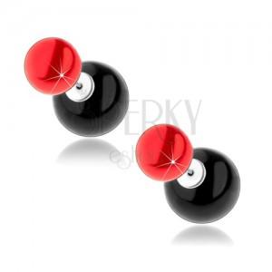 Červeno-čierne guličkové náušnice zo striebra 925, napichovacie, obojstranné