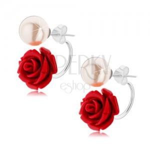 Obojstranné strieborné náušnice 925, perleťovo biela gulička, bordová ruža