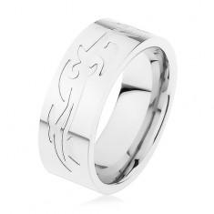 Šperky eshop - Oceľový prsteň, strieborná farba, gravírovaný tribal vzor HH4.16 - Veľkosť: 61 mm