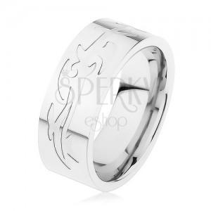 Oceľový prsteň, strieborná farba, gravírovaný tribal vzor