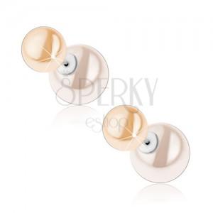 Strieborné náušnice 925, obojstranné, perleťovo biela a krémová gulička