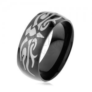 Lesklý oceľový prsteň čiernej farby, šedý motív tribal, hladký povrch