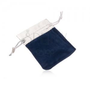 Modré darčekové vrecúško zo zamatu, vrchná časť v striebornom odtieni