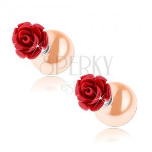 Obojstranné strieborné náušnice 925, červená ruža, svetlooranžová gulička