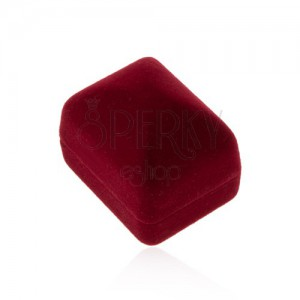 Zamatová krabička na prsteň alebo náušnice, bordová farba, hladký povrch