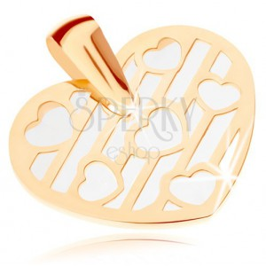 Prívesok zo žltého 9K zlata - srdce zdobené výrezmi, podklad z perlete