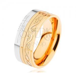 Lesklý prsteň z ocele 316L, zlatá a strieborná farba, špirála, had, zárezy