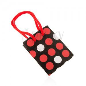 Darčeková taštička z papiera, čierny podklad, biele a červené bodky, šnúrky