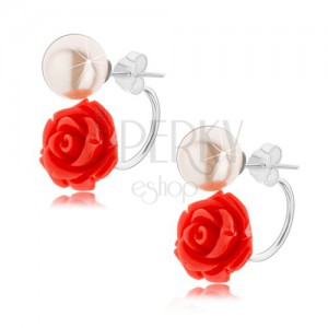 Strieborné náušnice 925, obojstranné, svetločervená ruža, biela gulička
