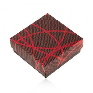 Darčeková krabička na šperk, čierno-červená, križujúce sa línie, prúžky