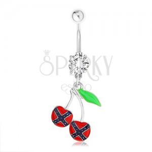 Oceľový piercing do pupka, čerešničky, vlajka konfederácie, zelený list