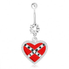 Piercing do pupka z ocele 316L, červené srdce, prekrížené pásy, vrúbky