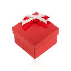 Šperky eshop - Krabička na prsteň alebo náušnice, štruktúrovaný povrch, mašľa U24.20