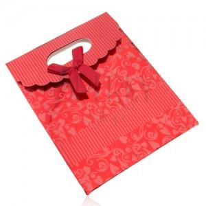 Lesklá darčeková taštička z papiera, tmavočervená, mašľa, výrez