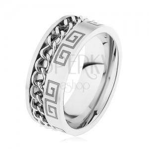 Oceľový prsteň striebornej farby, zárez s retiazkou, grécky kľúč