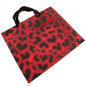 Papierová taška na darček, tmavosivá s červenou, lesklé obrysy sŕdc